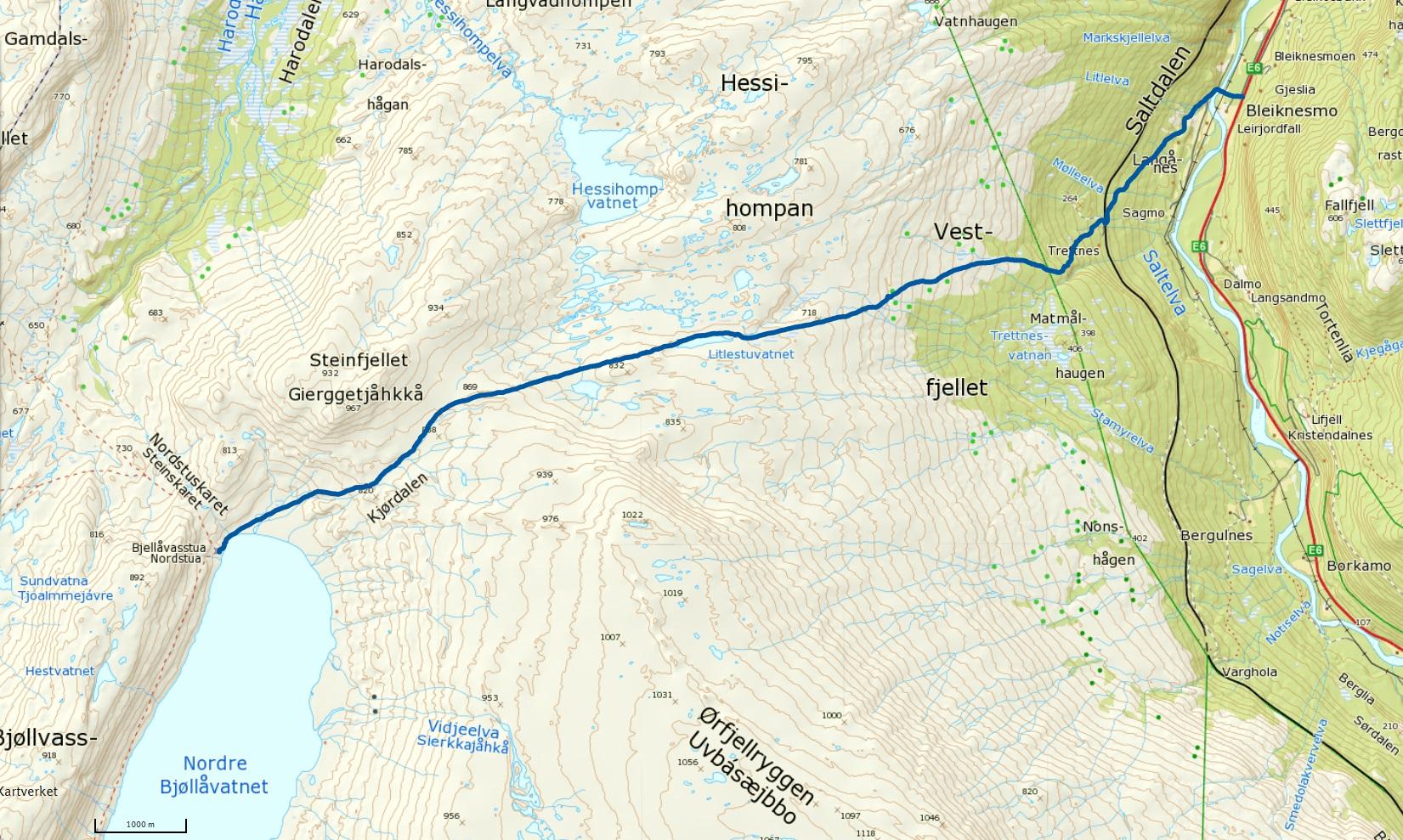 Telegrafruta saltfjellet kart