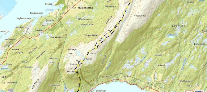 Skarmoklubben 384 moh, Omgamfjellet 421 moh, Brennakselfjellet 446 moh